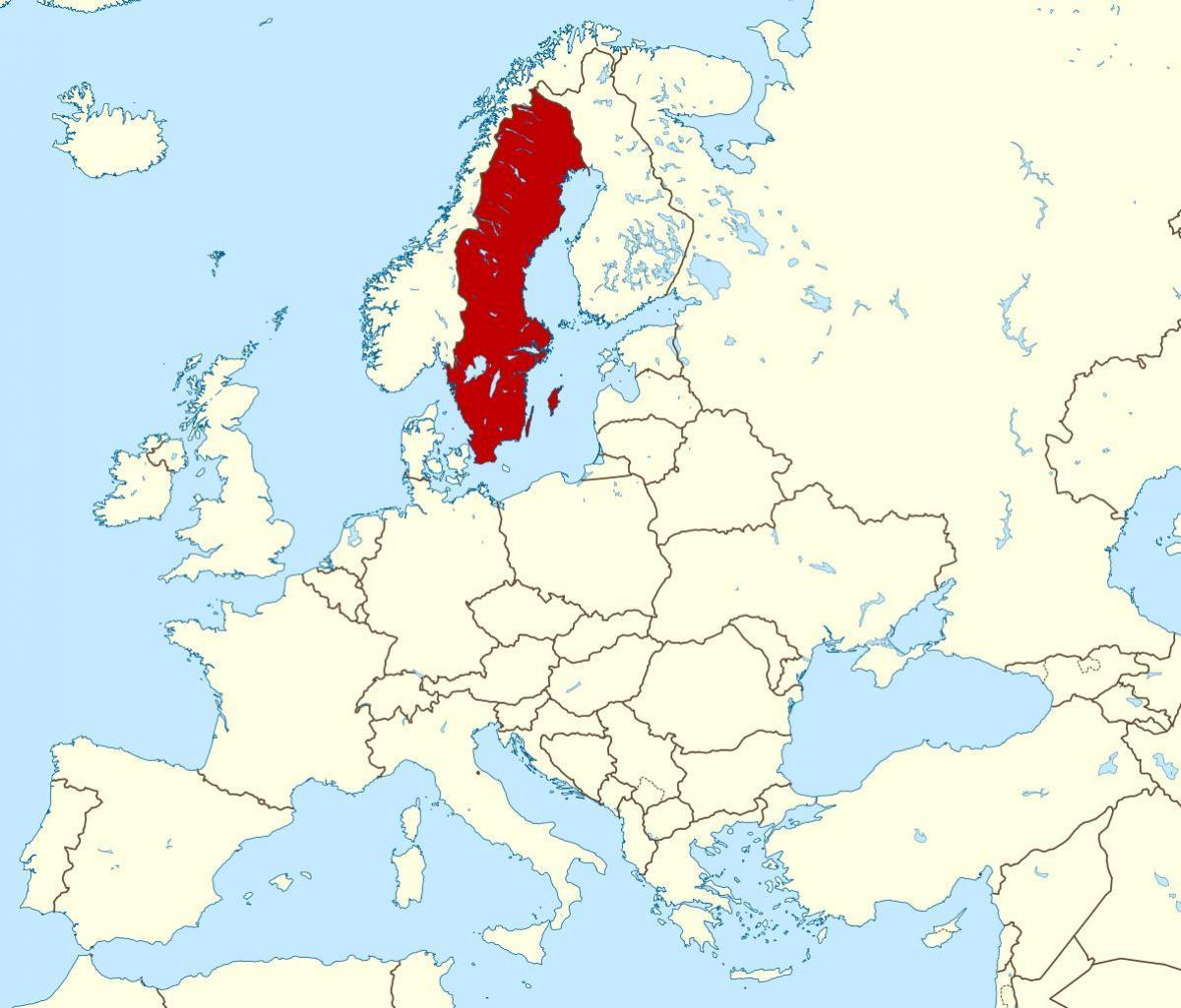 En suède, la carte de l'Europe   Carte de la Suède en Europe (l